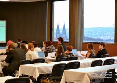 Simulované jednání na konferenci.